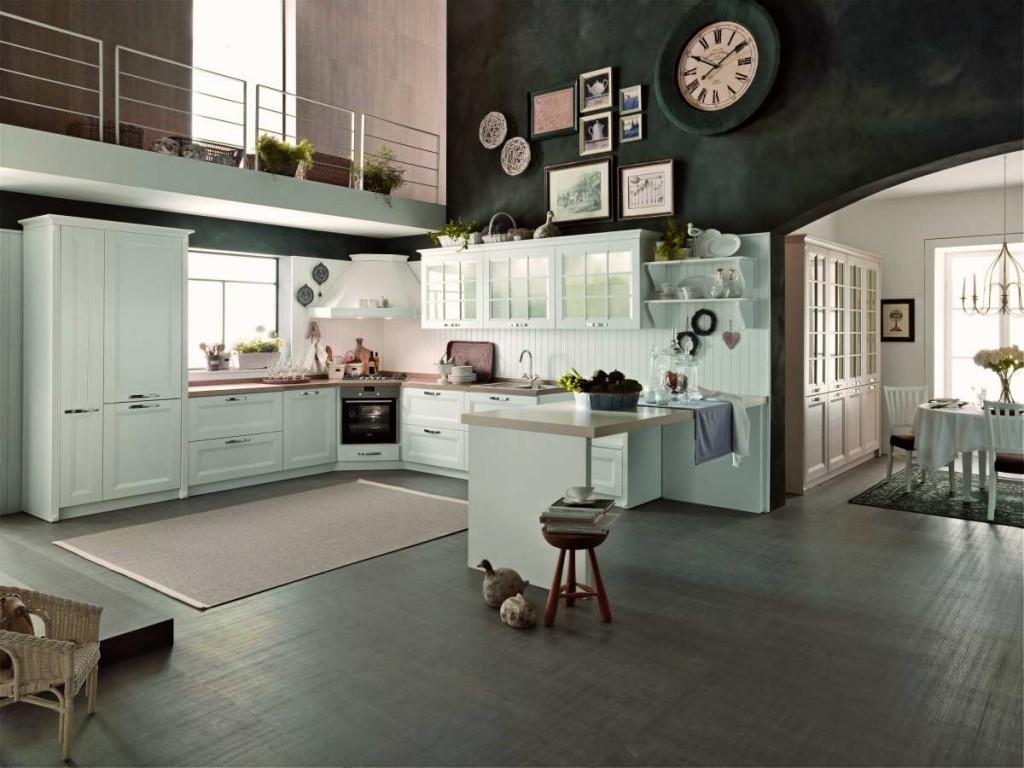 cucina classica con anta legno e anta vetro biancospino